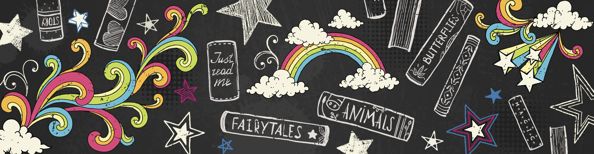 Kids Page header: rainbows, books and stars chalkboard drawings