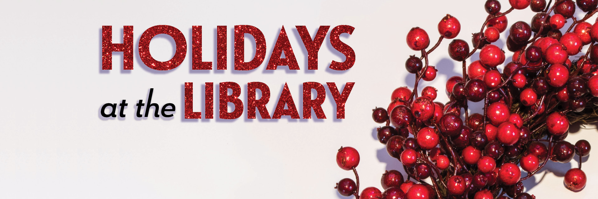 Holidays at the Library, cranberry wreath on white background