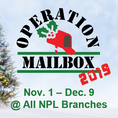 Operation Mailbox 2019, Nov. 1 - Dec. 9 at all NPL Branches, picture of red mailbox with holly