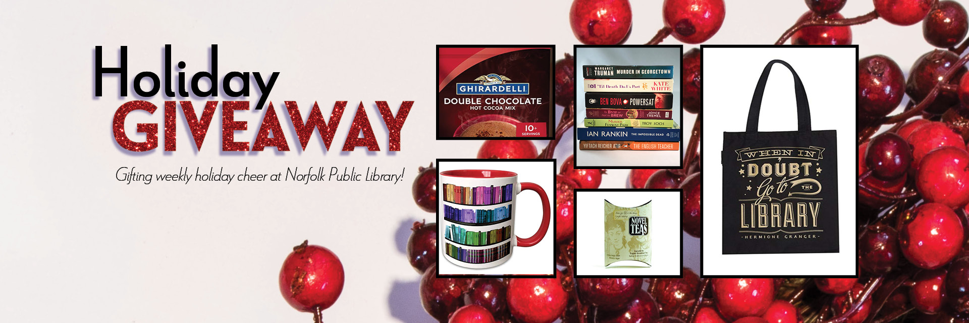 Holiday Giveaway, images of Harry Potter tote bag, rainbow books mug, hot chocolate mix, tea bags, stack of fiction books